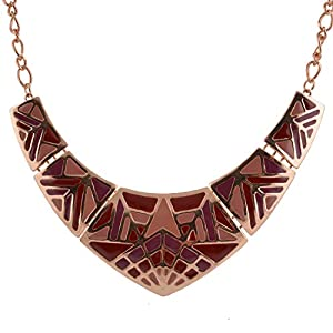 Real Spark V Style Tribe Totem Vintage Worship Statement Party Necklace Rose Gold
