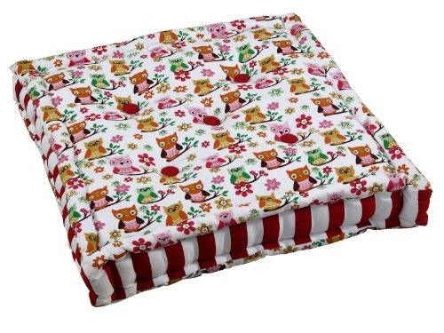 Homescapes - Owl - 100% Cotton - Floor Cushion - Orange Red Pink White - 40 x 40 x 10 cm Square - Indoor - Garden - Dining Chair Booster - Seat Pad Cushion