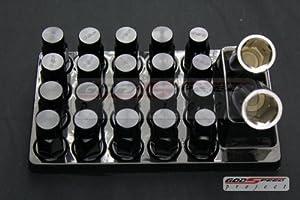 Godspeed Type-4 Wheel Rim Racing Lug Nuts 50mm 20 Piece W / Lock M12 X 1.5 Black Color Fit ALL Honda , Accord , Accord Wagon , Civic , Civic Si , Civic Type-r , Ep3 Civic , CRX , CRV , CRZ Cr-z , DEL SOL , FIT , Prelude , S2000 S2k