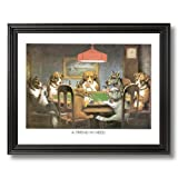 Solid Wood Black Framed Coolidge Dogs Playing Poker At Table A Friend In Need #1 Animal Pictures Art Print