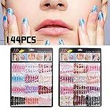 Hattfart False Nails Fake Nails Short Coffin Nail Tips 144PCS Artificial Nails Short Ballerina Nails Cover Acrylic Nails (Colorful) (Color: Colorful, Tamaño: Free)
