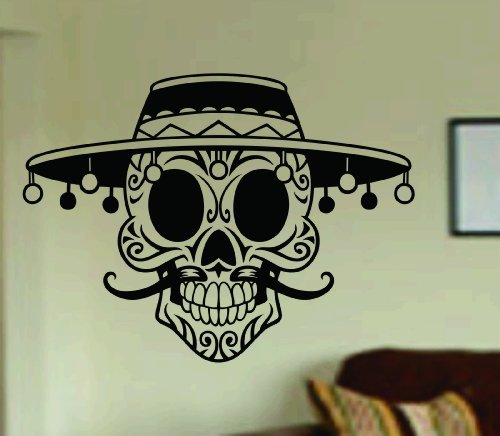Dabbledown Decals Mustache Day of the Dead Skull Wall Vinyl Decal Sticker Art Graphic Sticker Sugar Skull Sugarskull