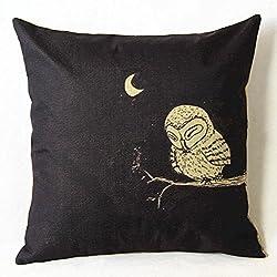 Luxbon Schwarz Nacht Eule Owl Leinen Kissenbezug Kinder Kopfkissen Kissen Fall Sofa Taille Throw Cover Pillowcase Huelle Haus Zimmer Auto Deko 45 x 45 cm