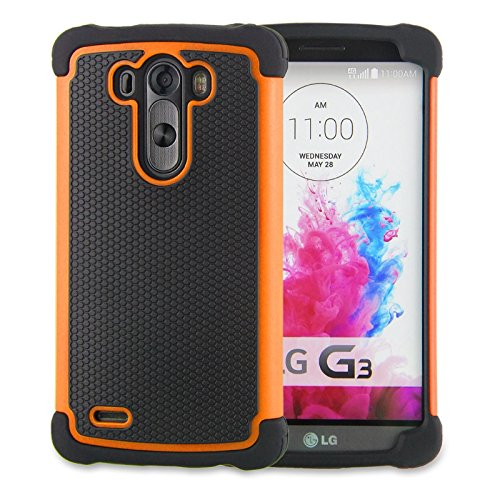 LG G3 Case,G3 Case Protective*HOT* [Drop Protection][shockproof][Rugged],Rubber+Hard case cover and Dual Layer Protective Case for LG G3(2015)-(orange) (Lg G3 Phone Case Speck compare prices)