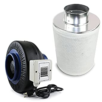 VenTech VT IF4+CF4 IF4CF412 Inline Duct Fan with Virgin Charcoal Carbon Filter Combo, 190 CFM, 4""