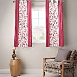 Enaakshi 2 Piece Polyester Eyelet Window Curtain - 5 ft, Red and White