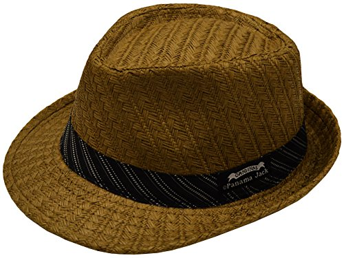 Panama Jack Mens Weaved Toyo Fedora with Striped Black Band, Large, Brown (Panama Jacks compare prices)