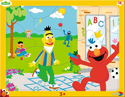 Noris Spiele 606038029 - Puzzle per bambini dell'asilo, con cornice, 16 pezzi, motivo: Sesame Street