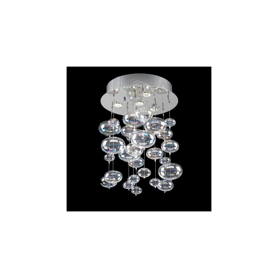 Bubbles Design 4 Light 20 Polished Chrome Ceiling Mount Chandelier Pendant with Rainbow Clear Glass SKU# 42703