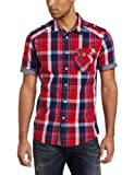 Marc Ecko Cut & Sew Men's Plaid With Chambray Trim Shirt, Hibiscus, Large