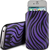 PURPLE ZEBRA PREMIUM PU LEATHER PULL FLIP TAB CASE COVER POUCH FOR DORO PHONEEASY 610GSM BY N4U ACCESSORIES