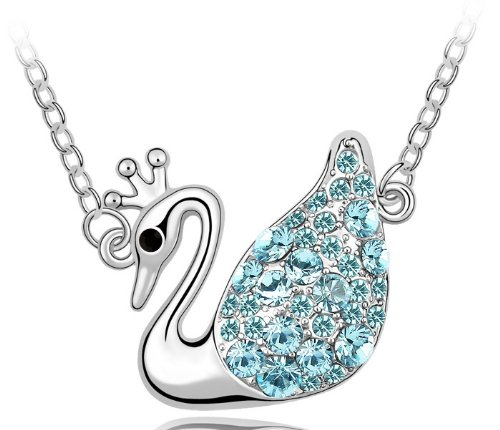 Purplelan-Fashion Necklace Austria Crystal Necklace- Light Sapphire Swan Queen 18Inch Necklace Fahsion Jewlery 951034