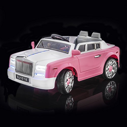 sportrax rolls royce phantom style luxury kids ride on car battery powered remote control wfree mp3 player pink