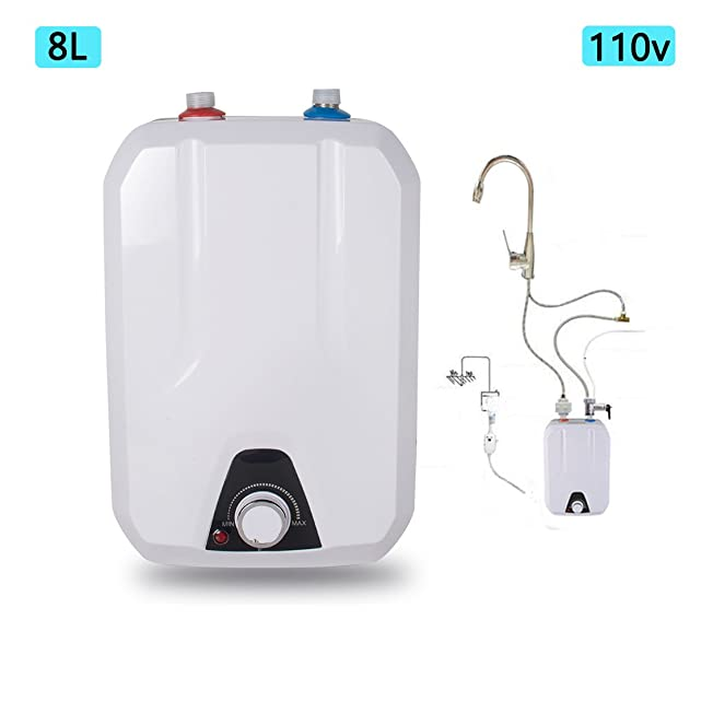 Zinnor Electric Tankless Hot Water Heater for Kitchen Bathroom Household, 8L 1500W/110V Electrical Hot Water Tank - USA Shipping