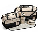 MY LIFE 5 in 1 Designer Bear Diaper Tote Bag,Classic Messenger Diaper Tote Bag with Changing Pad 5 Pieces Set (Black)