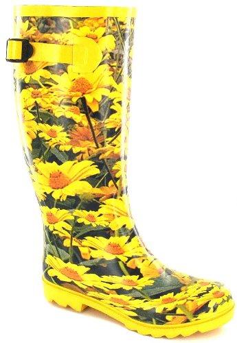 Yellow Daisy Funky Wellies