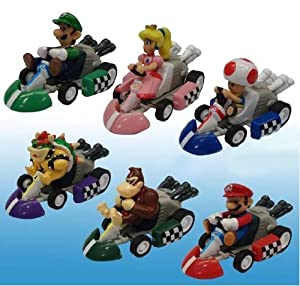 Super Mario Bros Mini Kart Pullback Figure Set Of 6