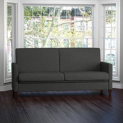 Portfolio Samuel Charcoal Linen Convert-a-Couch Futon Sleeper Sofa