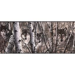 Grey WD4170B Wolves Wallpaper Border