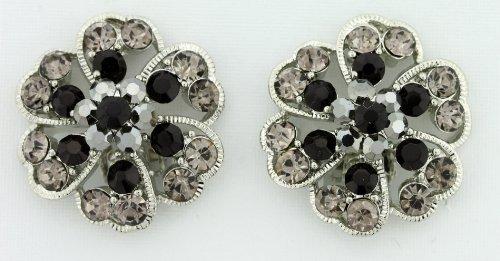Aurora Borealis (AB) Austrian Crystals Flower Clip-On Earrings - Black