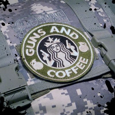 Cheapest Price! Official Tactical Guns and Coffee Velcro Morale Military starbucks Patch