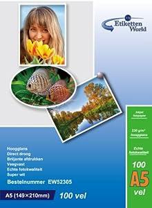 100 Feuilles EtikettenWorld Papier Photo A5 230g/qm Ultra brillant Imperméable à l'eau