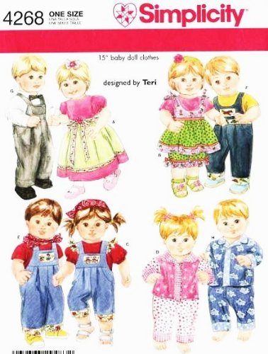 SIMPLICITY 4268 15# BABY DOLL CLOTHES ~ FITS TWIN DOLLS (Bitty Baby Sewing Patterns compare prices)