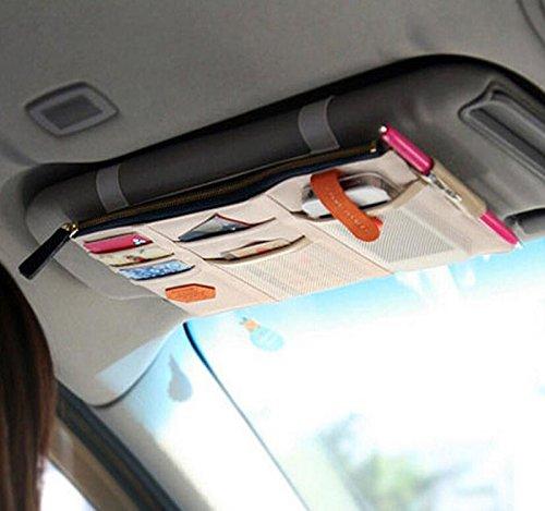 Multi-functional Auto Car Clip Sunvisor Car Storage Bag CD Hanging Storage Bag Organization (Beige)