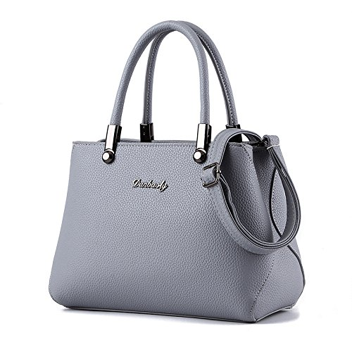 koson-man-womens-fashionable-new-style-pure-color-leather-tote-bags-shoulder-bagsgrey