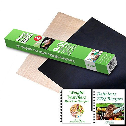 ekSel Grill Oven BBQ Mats & Baking Sheet Cooking Liner Woven Fiberglass Reusable Non Stick 1 Black & 1 Beige; Set of 2 (Bpa Free Baking Sheets compare prices)