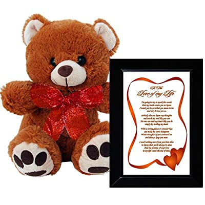 I Love You Gift for Wife, Husband, Boyfriend or Girlfriend - Valentines Day or Anniversary Gift - Framed Poem and Bear by Poetry Gifts