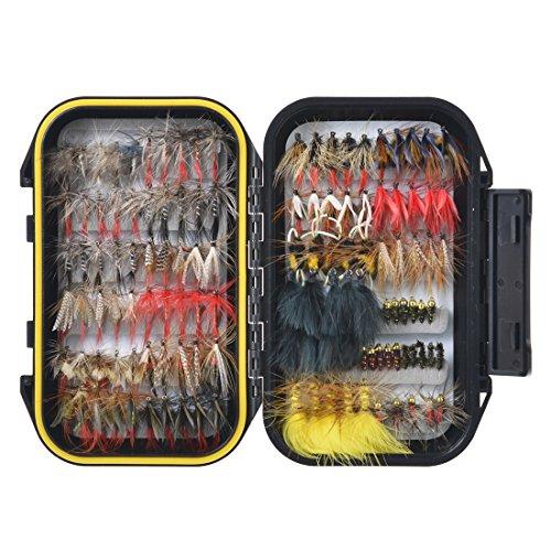 FishingSir Forellen Fliegenfischen Fliegen - Trockenfliegen, Nassfliegen, Nymphe, Streamer und Emerger Fliegenköder + Doppelseitige wasserfeste Fliegenschachtel mit Taschen