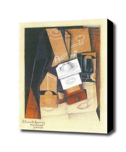 Coffee Grinder Cup And Glass On A Table By Juan Gris Canvas Art Print, 14 X 16 Ready To Hang With Black Edge
