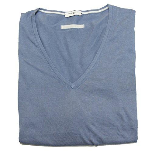 A0644 maglione uomo PAOLO PECORA azzurro cotone scollo v sweater men [XXL]