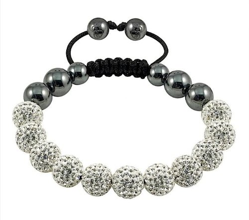 SHAMBALLA CRYSTAL DISCO BALL FRIENDSHIP BEAD BRACELET[White W/O String]