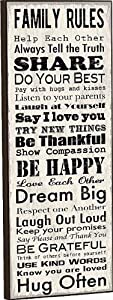 Family Rules Mounted Wall Art 18 X 6 from P Graham Dunn