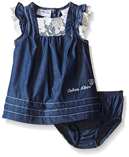 Calvin Klein Baby Girls' Dark Chambray Dress with Panty, Blue, 0-3 Months