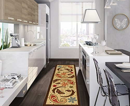 Ottomanson Sara's Kitchen Paisley Design Mat Runner Rug with Non-Skid (Non-Slip) Rubber Backing, Beige, 20