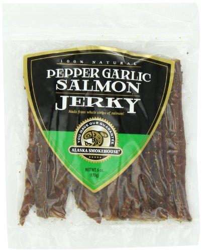 Alaska Smokehouse Pepper Garlic Salmon Jerky, 6 -Ounce Bag