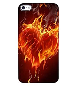 ColourCraft Flaming Heart Design Back Case Cover for APPLE IPHONE 4S
