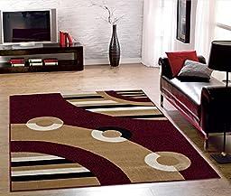 Ottomanson Dark Red Contemporary Circles Design Area Rug (7\'10\