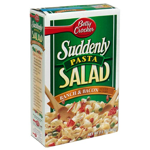 Suddenly Pasta Salad, Ranch & Bacon, 7.5-Ounce Boxes (Pack of 12)