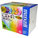 maxell データ用 CD-R 700MB 48倍速対応 カラーミックス20枚 5mmケース入 CDR700S.ST.MIX1P20S