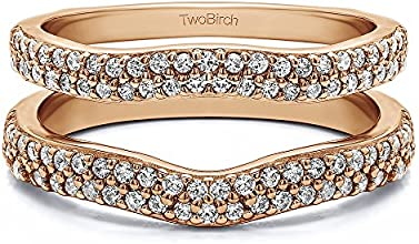 10k Gold Double Row Pave Set Curved Ring Guard with White Sapphire 051 ct twt