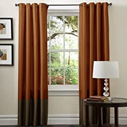 Lush Decor Prima Curtain Panel Pair, 54-Inch by 84-Inch, Brown/Rust