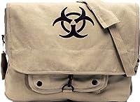 Khaki Vintage Paratrooper Shoulder Bag w/Bio-Hazard Emblem