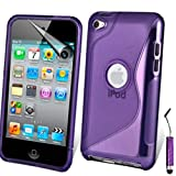 AOA CasesTM Apple Ipod Touch 4 4g 4th Generation S-Line Series Wave Hydro Gel Silicone Case Cover Skin Includes Screen Protector And Mini Stylus (iPod Touch 4 4th 4G, Purple)