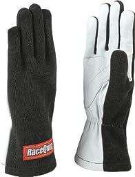RaceQuip 350005 350 Series Large Black Single Layer Driving Gloves