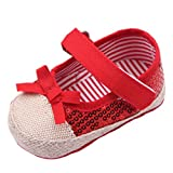 EOZY Zapatos Para Beb� Ni�as Princesa lazo Nudo Lentejuelas Primero Paso Andar Rojo Oto�o Pirmavera Longitud 12cm