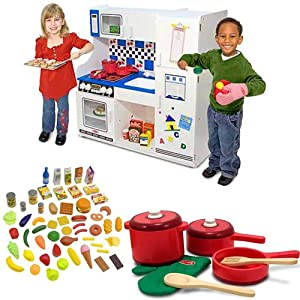 Melissa And Doug Deluxe Kitchen With Wooden Kitchen Accessory Set And Frenzy Play